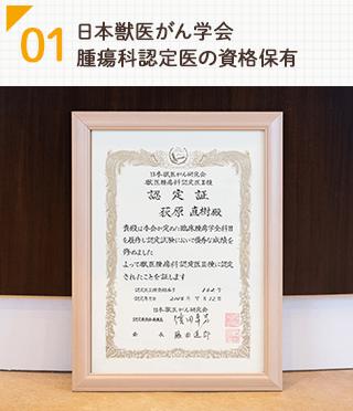 日本獣医がん学会 腫瘍科認定医の資格保有